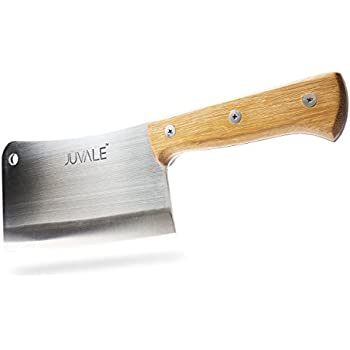 Stainless Steel Heavy Duty Meat Cleaver/Chopper/Butcher Knife - Solid Wood Handle - Professional Quality - for Home & Restaurant Use - 8 Inches