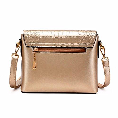 Bolsa bandolera bolsa femenina señoras bolso simple, oro Oro