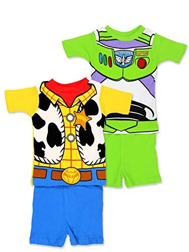 Toy Story 4 Boy's Toddler 2fer 4 Piece Short Sleeve Tee Shorts Cotton Pajamas Set (2T, - Boys Pajamas Disney
