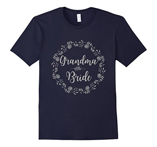 Mens Grandma of the Bride Silver Glitter Floral Wreath T Shirt Large (Glitter Floral Tee)