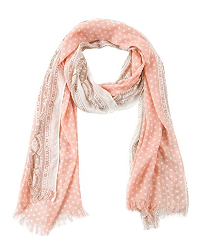 BYLUNTA Women's Lightweight Fall Winter Fashion Scarf (White dot/ (Dot Silk Scarf)