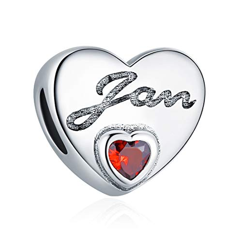 January Birthstone Charms Dark Red Crystal Charm Beads Love Heart 925 Sterling Silver Charms for Bracelets, Birthday Gifts for Women Girls ()