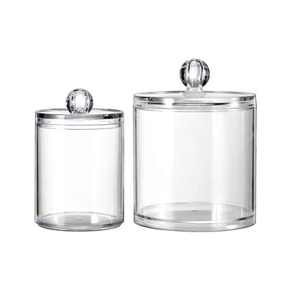 Qtip Dispenser Holder Bathroom Vanity Organizer Apothecary Jars Canister Set for Cotton Ball,Cotton Swab,Q-tips,Cotton Rounds,Bath Salts,Premium Quality Plastic Acrylic Clear | 2 Pack,10 Oz. & 20 Oz. - ✅ BEATIFUL AND FUNCTIONAL: The 10oz. & 20 Oz. Apothecary Jars set combine BEAUTY with organization. The 10oz. jar is perfect for qtips,the 20 oz. jar is perfect for bathroom vanity organizer, such as cotton ball,cotton rounds,bath salts, makeup sponges,rubber bands,needles,etc. ✅ SIMPLE AND EASY TO USE: Each apothecary jar has a removable acrylic lid and a wide mouth to make accessing bathroom vanity simple.They are easy to clean and can also provide the vanity become wet in the bathroom because of the humidity ✅ MAKING HOME A BETTER SPACE:The canister set is also clear plastic jars, modern design, functional yet decorative,not just for the bathroom, also PERFECT in the kitchen or living room - organizers, bathroom-accessories, bathroom - 41LhO8T0VBL. SS570  -