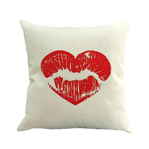 GBSELL Happy Valentine's Day Pillow Case Throw Cushion Cover Sofa Home Car Party Decor (V) (V Day Valentine)