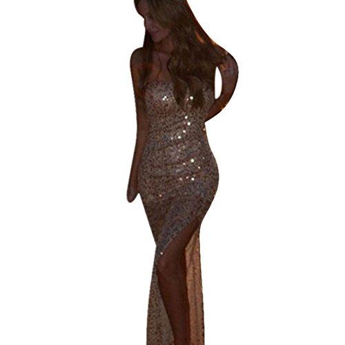 Culater® Femmes Sexy Demoiselle d'honneur Longue Robe de Bal d'or Paillettes Robe de Cocktail