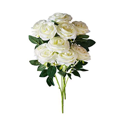 - Kislohum Artificial Flowers Roses Ivory 10 Heads Total Fake Silk Roses for Home Decor DIY Wedding Bridal Bouquets Centerpieces Arrangements Baby Shower Flower Decoration-2 Bundles
