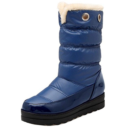 Heels COOLCEPT Calf Women Mid Boots Comfort Waterproof Platform Blue Mid Xaa0xr