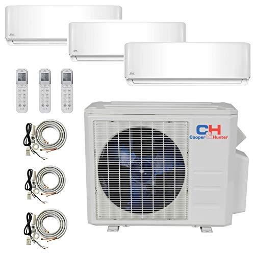 COOPER AND HUNTER Tri 3 Zone Ductless Mini Split Air Conditioner Heat Pump 9000 9000 1200 Multi (3 Split Air Zone Conditioner)