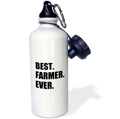 3dRose wb_184997_1 Best Farmer Ever-Fun Gift for Farming Job-Farm-Black Text Sports Water Bottle, 21 oz, White