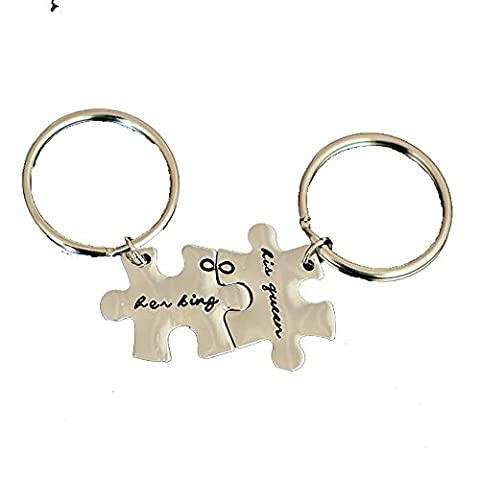 Meiligo Retro 2 Pcs Couples His Queen and Her King Letter Puzzle Dog Tag Necklace Key Chain Square Matching Engraved Puzzle Letter Jewelry (Key (His Hers Dog Tags)
