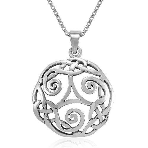 MIMI Sterling Silver Celtic Triple Spiral Triskele Triskelion Swirl Round Pendant Necklace, 18 inches