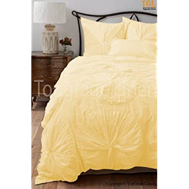 800 Tc 100% Egyptian Cotton Flower Ruffle Duvet Set King Size Yellow Solid Offer -175