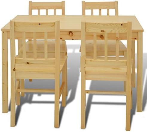 WEILANDEAL Mesa de Comedor de Madera con 4 sillas Material Natural: Madera de Pino Muebles de baño Conjuntos de Muebles de baño