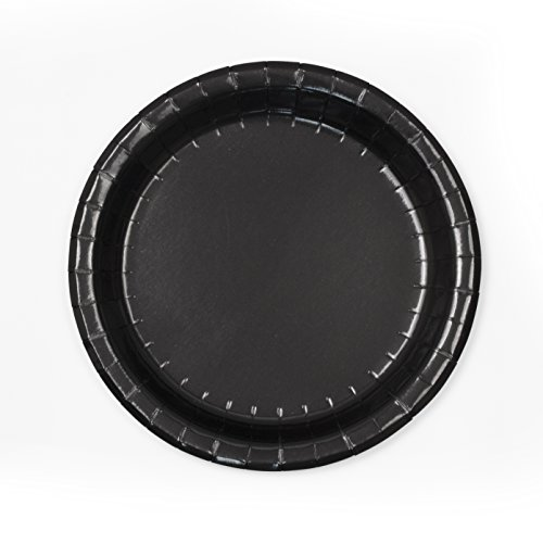 Concept Party Products CPPL48BK 48 Count Coated Paper Dessert Plates, Black