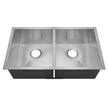 Golden Vantage 32  Double Bowls Basin 16 Gauge Stainless Steel Undermount Handmade Kitchen Sink