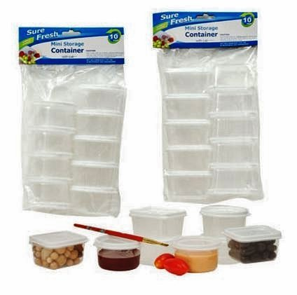 Mini Dip (Mini Storage Containers with Lids, Sure Fresh, Plastic, Reusable, Round and Rectangular 20-pc Set)