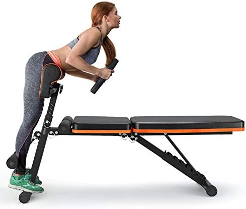PERLECARE Adjustable Weight Bench for Full Body Workout - All-in-One Durable Exercise Bench Holds as much as 772 lbs, Foldable Flat/Incline/Decline Workout Bench with Two Exercise Bands for Home Gym