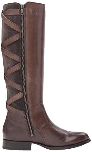Frye Women's Jordan Strappy Tall Riding Boot, Brown Charcoal