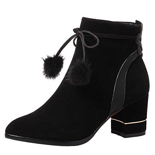 Chic Con E Stivaletti Sintetica In Pelliccia A Nera Mee Zip Shoes Tacco Blocco aFqSwS5tx