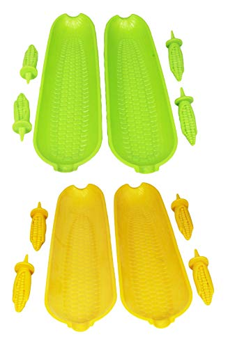 12 Piece Corn on the Cob Skewer and Dish Set - Large Plastic Corn on the Cob Dishes and Corn holders. (2 Assorted Corn Serving Sets) (Duck Serving Dish)