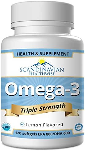 Scandinavian Healthwise Omega 3 Fish Oil, Triple Strength, Non GMO, NSF-Certified, GMP-Certified, 120 softgels