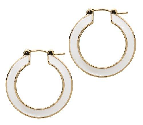 (L. Erickson Cynthia Enamel Hoop Earrings - White/Gold)