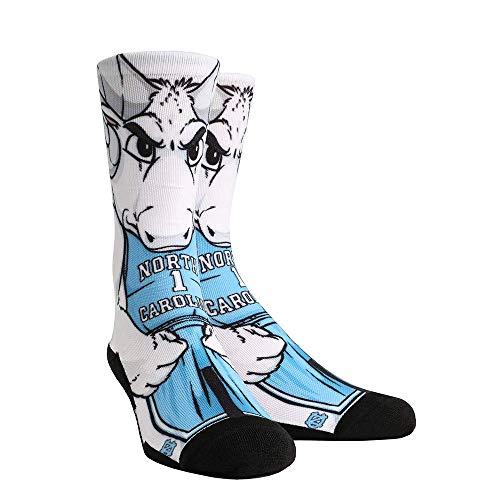 - NCAA Super Premium College Fan Socks (L/XL, UNC Tar Heels - Mascot Rameses)