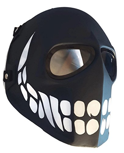 [Airsoft Mask,Paintball Mask, Protective Gear,Black Smiley Full Face Mask,Outdoor Sport Fancy Party] (Smiley Horror Mask)