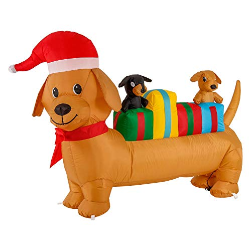 Christmas Masters 4 Foot Long Inflatable Wiener Dog with 2 Puppies, Santa Hat and Present Gifts LED Lights Indoor Outdoor Yard Lawn Decoration - Cute Fun Dachshund Dog Xmas Holiday Blow Up Party