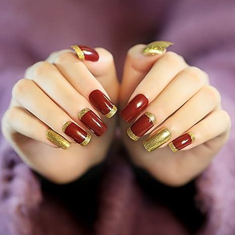 yunail Honorable 24 pcs vino rojo con purpurina de oro largo Artificial uñas acrílico cuadrado completo uñas postizas con pegamento adhesivo: Amazon.es: ...