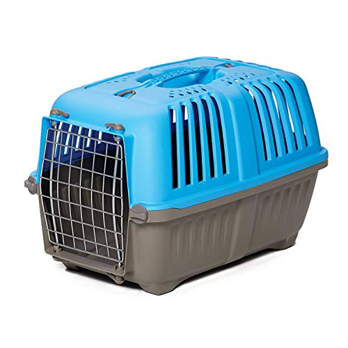 Pet Carrier: Hard-Sided Dog Carrier, Cat Carrier, Small Animal Carrier in Blue| Inside Dims 17.91L x 11.5W x 12H & Suitable for Tiny Dog Breeds | Perfect Dog Kennel Travel Carrier for Quick Trips ()