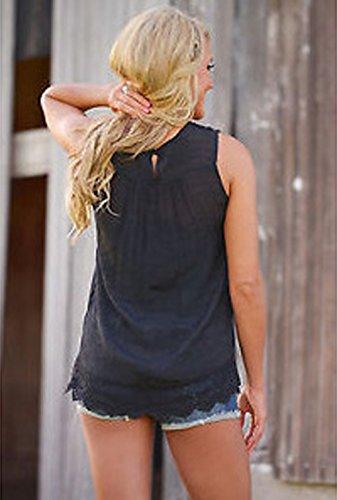 Sciolto in Moda Nero Camicie Solido T Camicetta Top Pizzo Girocollo Donna Canotte di Casual Estivi Shirt Maniche Senza Cucitura Colore Bluse XnpxCXR5T