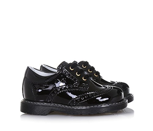 NERO GIARDINI - Schwarzer Halbschuh mit Schnürsenkeln aus Lackleder, made in Italy, Lochmuster, Mädchen