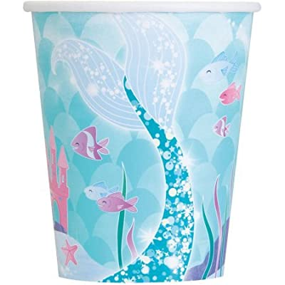 Mermaid Deluxe Birthday Party Supplies Pack - Serves 16 - Tablecloth, Plates, Napkins, Cups and Centerpiece Decoration: Toys & Games