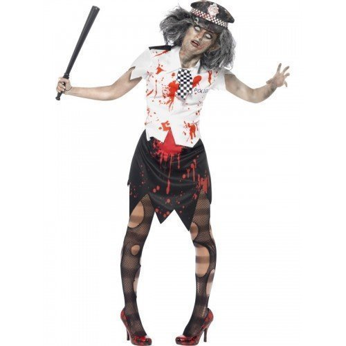 Costume Woman Police Halloween Dead (Fancy Me Women's Dead Corpse Zombie Policewoman Cop Wpc Halloween Fancy Costume 12-14)