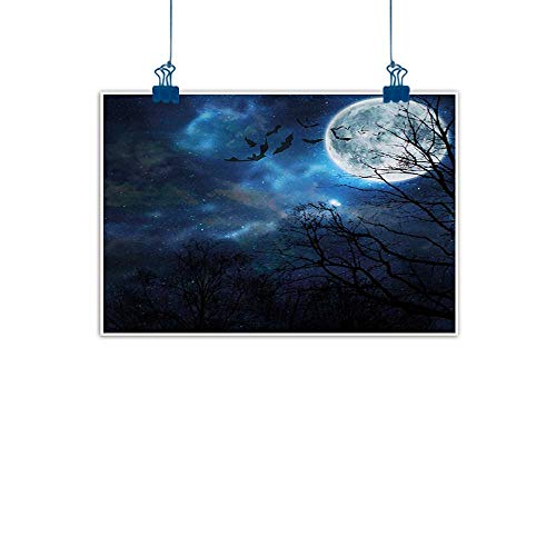 Outdoor Nature Inspiration Poster Wilderness Halloween,Bats Flying in Majestic Night Sky Moon Nebula Mystery Leafless Trees Forest,Blue Black White for Boys Room Baby Nursery Wall Decor Kids Room Boys