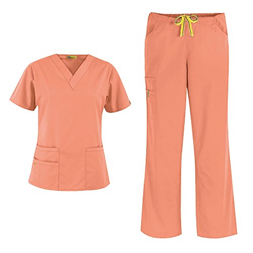 WonderWink Origins Women's 6016 Bravo Top & 5026 Romeo Pant Medical Uniform Scrub Set (Orange Sherbet - Small)