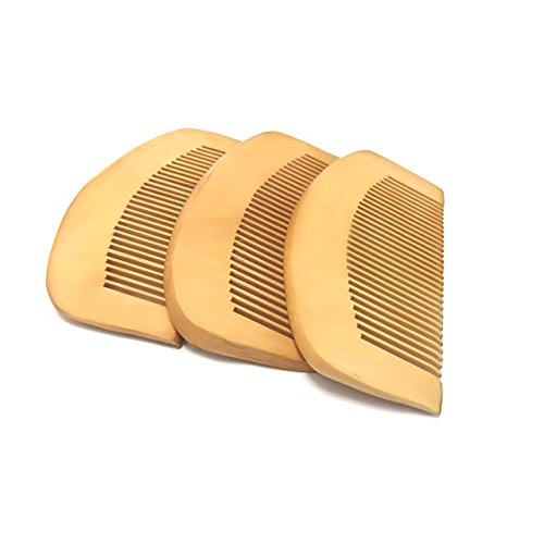 UMS Hair Comb 3 Pieces Curved Shape Of Natural Sandalwood Comb Popular Natural Health Care Comb Anti-static Peach Wood Hair Comb