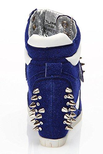 J75 Av Hopp Kvinna Adele Dubbar Wedge Sneaker Navy Combo
