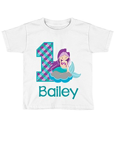 Girls Mermaid Birthday Shirt Any Age   Personalized with Any Name (White, 24 Month Shirt) ()