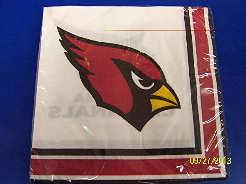 Arizona Cardinals NFL Pro Football Sports Banquet Paper Beverage Napkins Football Game Day Sports Themed College University Party Supply NFL Napkins Beverage for 20 Red White Yellow Napkins ()