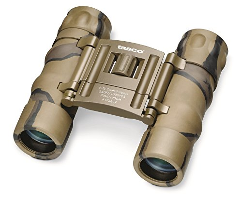 Cheap Tasco Essentials 10x 25mm Roof Prism Compact Binoculars (Brown Camo)