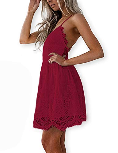 AOOKSMERY Women Sexy Summer V-Neck Spaghetti Straps Lace Knee-Length Backless Dresses ()