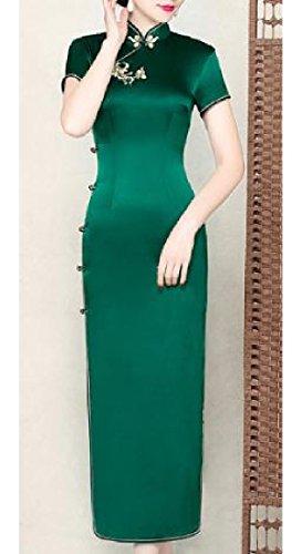 Silk Solid Color Womens Dress Chinese Comfy Cheongsam Evening Split Green Premium gwfZttxqF
