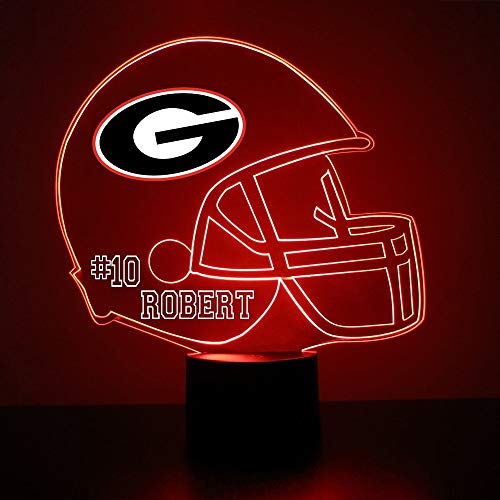 (Mirror Magic Store Georgia Bulldogs Football Helmet LED Night Light with Free Personalization - Night Lamp - Table Lamp - Featuring Licensed Decal)