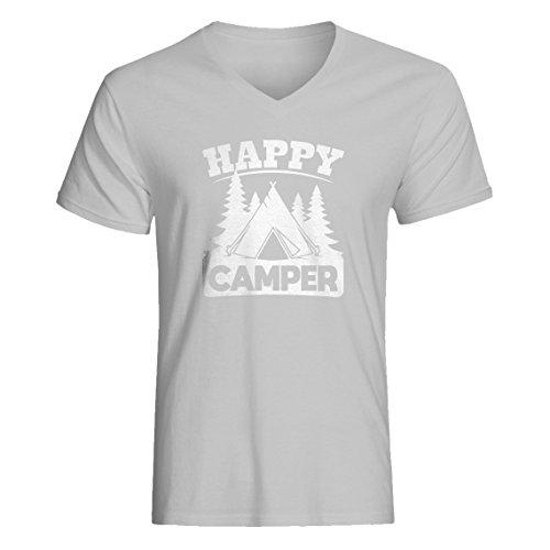 Indica Plateau Vneck Happy Camper Large Heather Grey T-Shirt -