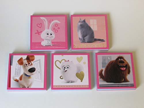 Secret Life of Pets Note Pads Set of 5 - Excellent Party Favors - Max Gidget Chloe Snowball Duke