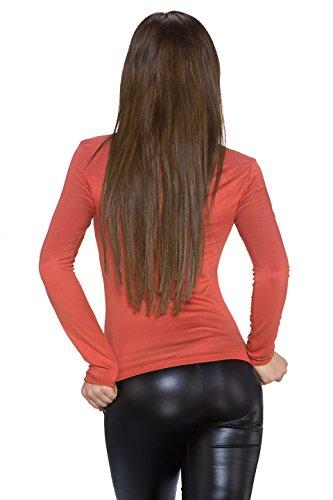 Fashion Plain de la mujer manga larga Top de manga larga Talla única naranja