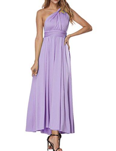 SELUXU Vestido de Las Mujeres de Alta Cintura Convertible Multi-Forma Abrigo Dama de Honor Formal Largo Vestidos Maxi Transformador/Infinito Vestido Púrpura
