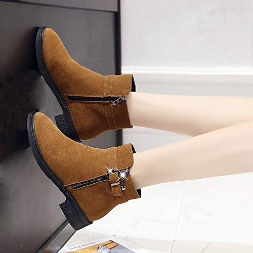 Keep Shoes Round Shoes Warm Toe Brown 35 Boots Strap Suede Brown Boot 40 Women Flat Martain Buckle ShoesBlack UnaqwHv8